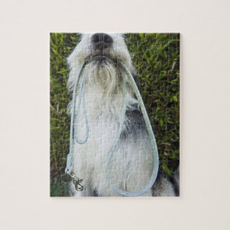Dog with leash in mouth jigsaw puzzle