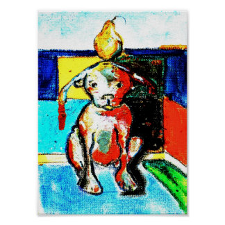 dog with pear poster