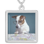 Dog with reading glasses studying map silver plated necklace