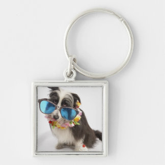 Dog with sunglasses and parfait Silver-Colored square key ring