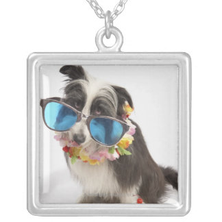 Dog with sunglasses and parfait square pendant necklace