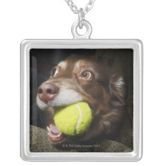 Dog with Tennis Ball Silver Plated Necklace