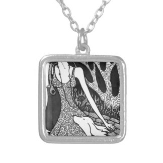 dog, woman, love, friendship , caring, affection , square pendant necklace