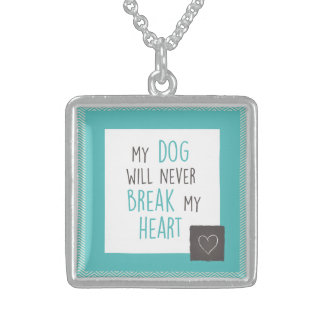 Dog Won't Break My Heart Sterling Square Necklace
