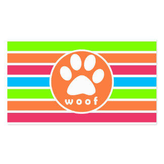 Dog, Woof; Neon Orange Pink Blue Green Stripes Double-Sided Standard Business Cards (Pack Of 100)