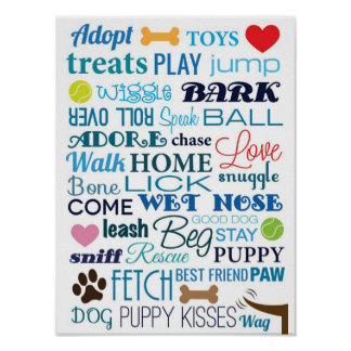 Dog Words Poster