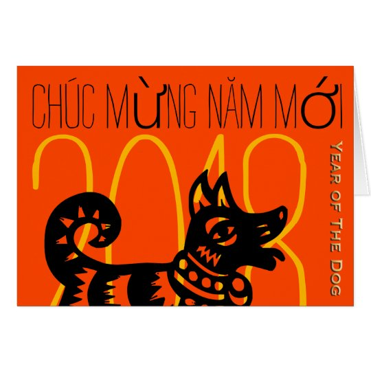 Dog Year 2018 Greeting In Vietnamese Card