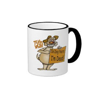 Dog Years Dead 75th Birthday Gifts Ringer Mug