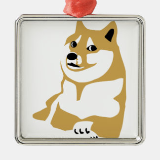 Doge - internet meme Silver-Colored square decoration