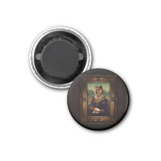 Doge Mona Lisa Fine Art Shibe Meme Painting 3 Cm Round Magnet