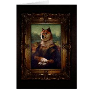 Doge Mona Lisa Fine Art Shibe Meme Painting Greeting Card