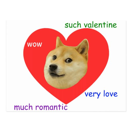 Doge Much Valentines Day Very Love Such Romantic Post Card