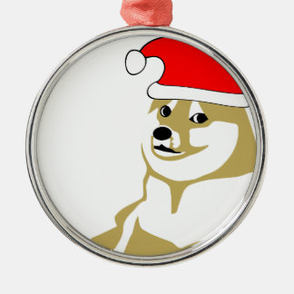 doge wow meme very xmas such hat many santa Silver-Colored round decoration
