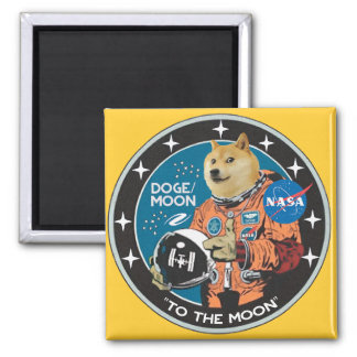 "Dogecoin ""to the moon"" magnet"