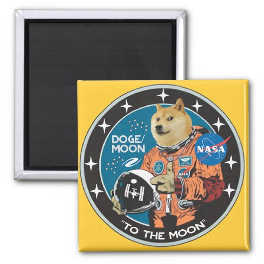 """Dogecoin """"to the moon"""" magnet"""