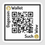 Dogecoin Wallet QR Code Square Sticker