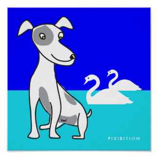 Doggie And Two Swan Poster