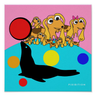 Doggie Family At Sea World Poster