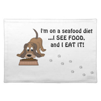 Doggie Humor-Cute Puppy+Dog Food Place Mat