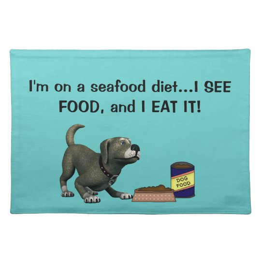 Doggie Humour-Cute Dog+Dog Food and Bowl Place Mat