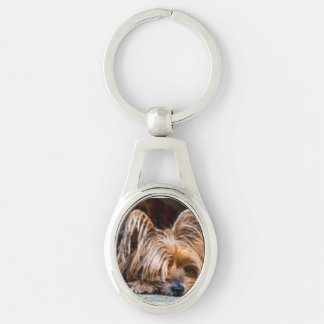 DOGGIE LOVE Silver-Colored OVAL METAL KEYCHAIN