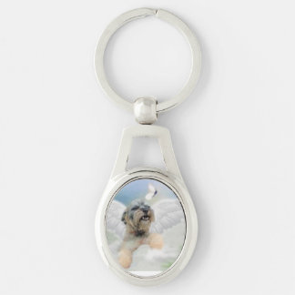 ''DOGGIE LOVE'' Silver-Colored OVAL KEY RING