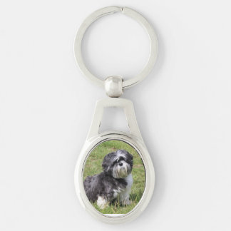 DOGGIE LOVE Silver-Colored OVAL KEY RING