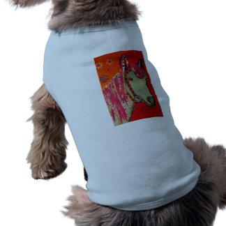 Doggie Ribbed Tank Top with Bright Horse Design Sleeveless Dog Shirt