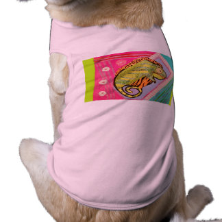 Doggie Ribbed Tank Top with Bright Lizard Design Sleeveless Dog Shirt