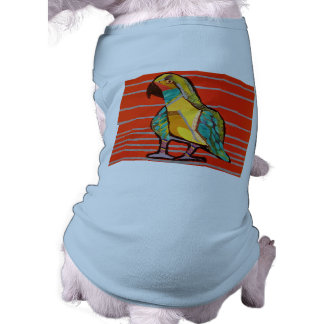 Doggie Ribbed Tank Top with Bright Parrot Design Dog Tee