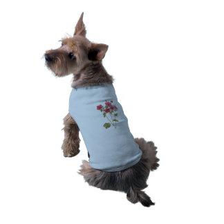 Doggie Ribbed Top flower vintage illustration Sleeveless Dog Shirt
