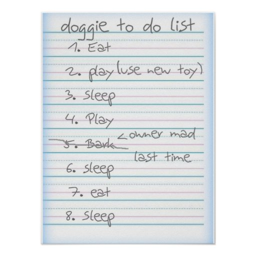 Doggie To Do List - Eat Play Sleep - Blue Poster