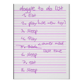 Doggie To Do List - Eat, Play, Sleep - Pink Posters