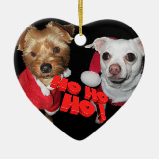Doggies Christmas wishes Ceramic Heart Decoration