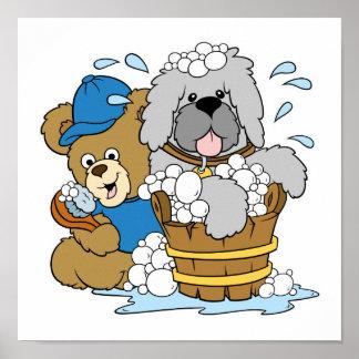 Doggy Bath Time Bear Poster