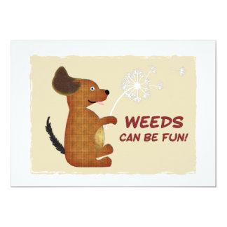 Doggy Dandelion Weeds Fun 5x7 Paper Invitation Card