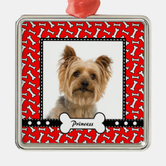 Doggy Gift - Christmas Dog Bone Red Photo Template Silver-Colored Square Decoration