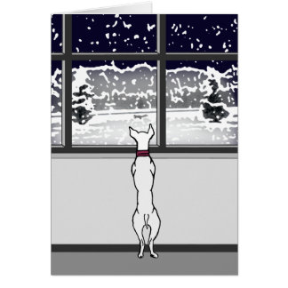 Doggy in the Winter Window Blank Card