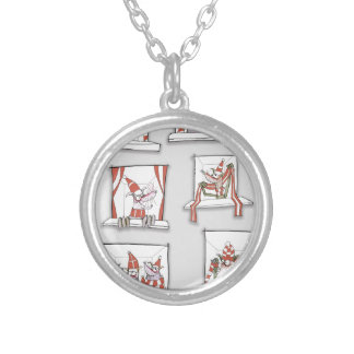 doggy match day reds silver plated necklace