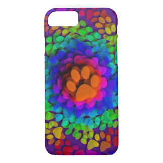 Doggy Paws Palm Prints Rainbow iPhone 7 Case