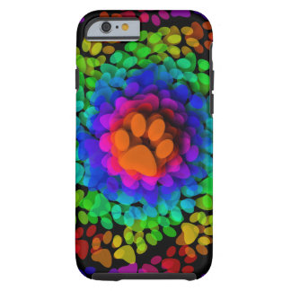 Doggy Paws Palm Prints Rainbow Tough iPhone 6 Case
