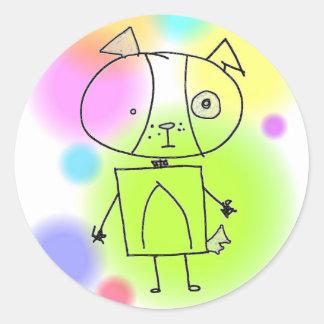 doggy round sticker