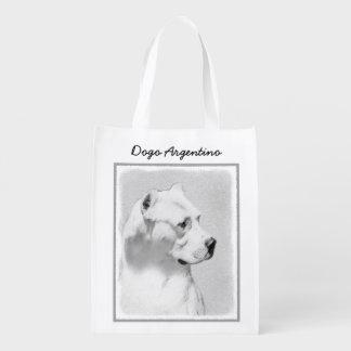Dogo Argentino Painting - Original Dog Art Reusable Grocery Bag