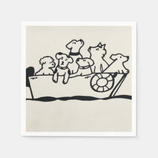 """Dogs and Boats"" Paper Napkins by Willowcatdesign Disposable Serviette"