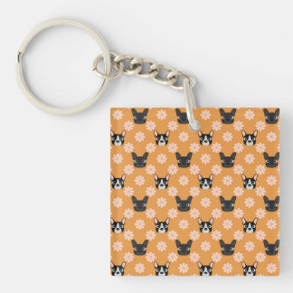 Dogs and Flowers Gold Single-Sided Square Acrylic Keychain