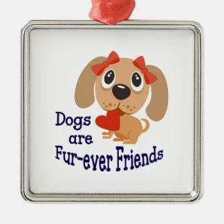Dogs Are Fur-ever Friends Silver-Colored Square Decoration