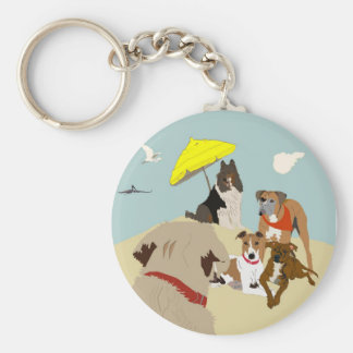 Dogs at the Beach Key Ring