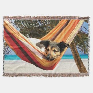 Dog's Beach Time Throw Blanket