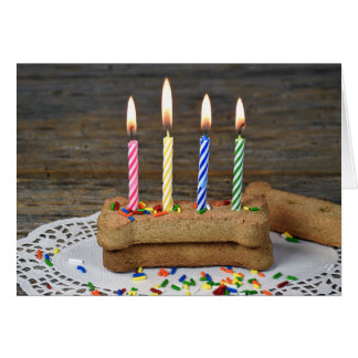 Dog's birthday with candles card