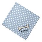Dog's Blue and White Polka Dot Custom Bandanna